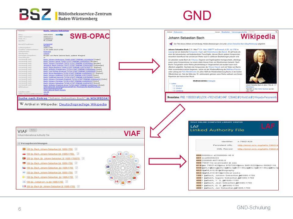 6 GND GND-Schulung SWB-OPAC Wikipedia VIAF LAF