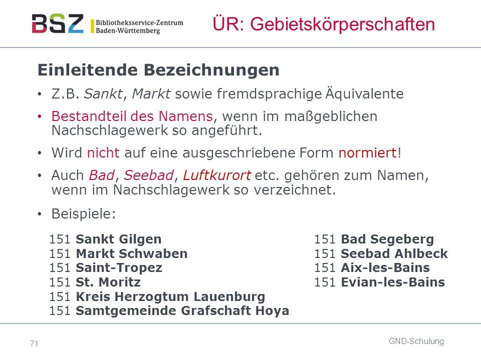 71 ÜR: Gebietskörperschaften GND-Schulung Einleitende Bezeichnungen Z.B.