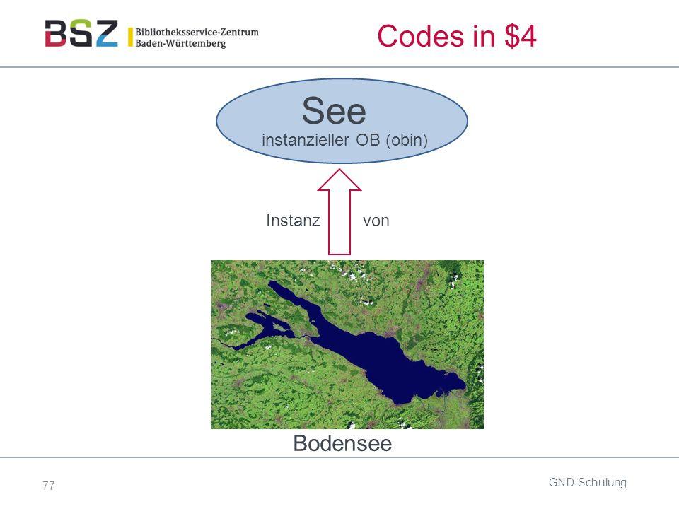 77 Codes in $4 GND-Schulung Bodensee See Instanz von instanzieller OB (obin)
