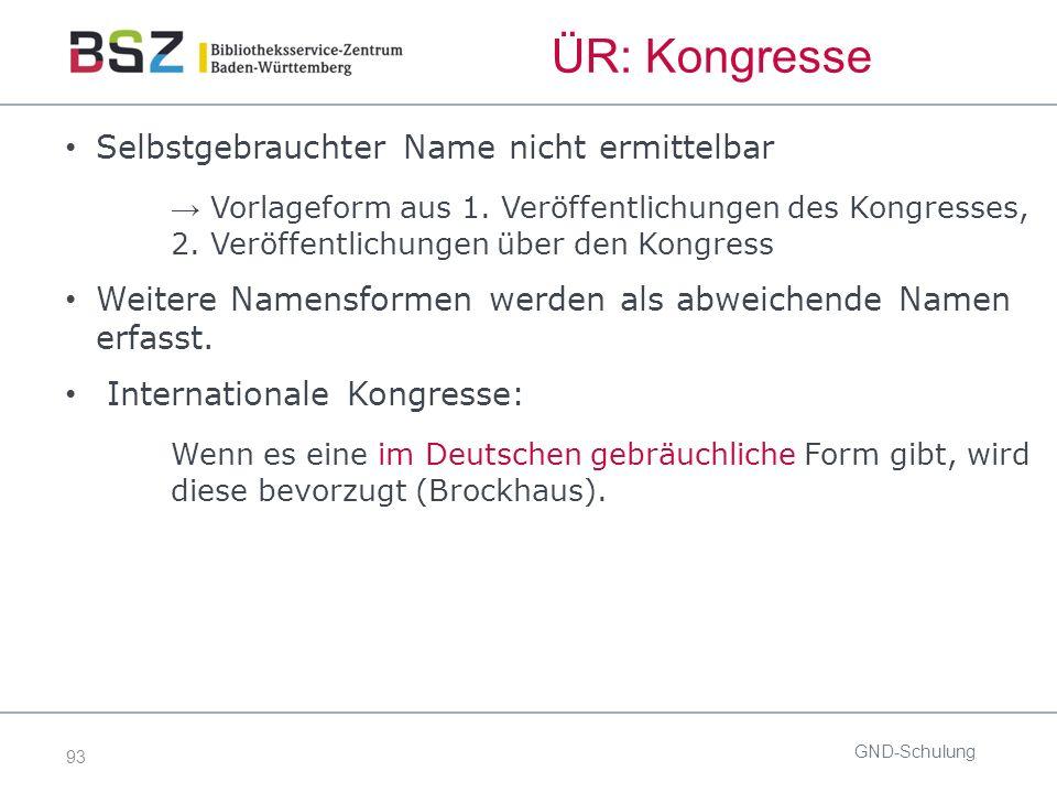 93 ÜR: Kongresse Selbstgebrauchter Name nicht ermittelbar → Vorlageform aus 1.
