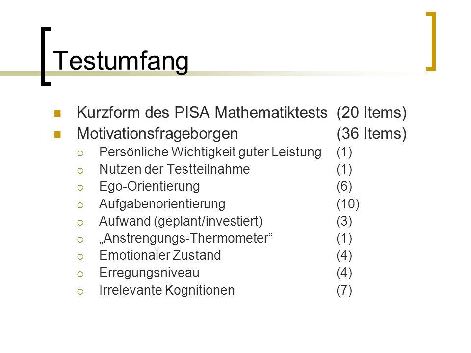 """Testumfang Kurzform des PISA Mathematiktests (20 Items) Motivationsfrageborgen (36 Items)  Persönliche Wichtigkeit guter Leistung (1)  Nutzen der Testteilnahme (1)  Ego-Orientierung (6)  Aufgabenorientierung (10)  Aufwand (geplant/investiert) (3)  """"Anstrengungs-Thermometer (1)  Emotionaler Zustand (4)  Erregungsniveau (4)  Irrelevante Kognitionen (7)"""