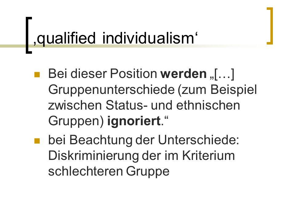 """'fair share' Diese Position sieht dann eine Diskriminierung, """"[…] wenn bei Selektionen die verschiedenen gesellschaftlich relevanten Gruppen nicht mit angemessenen Quoten ('fair share') vertreten sind."""