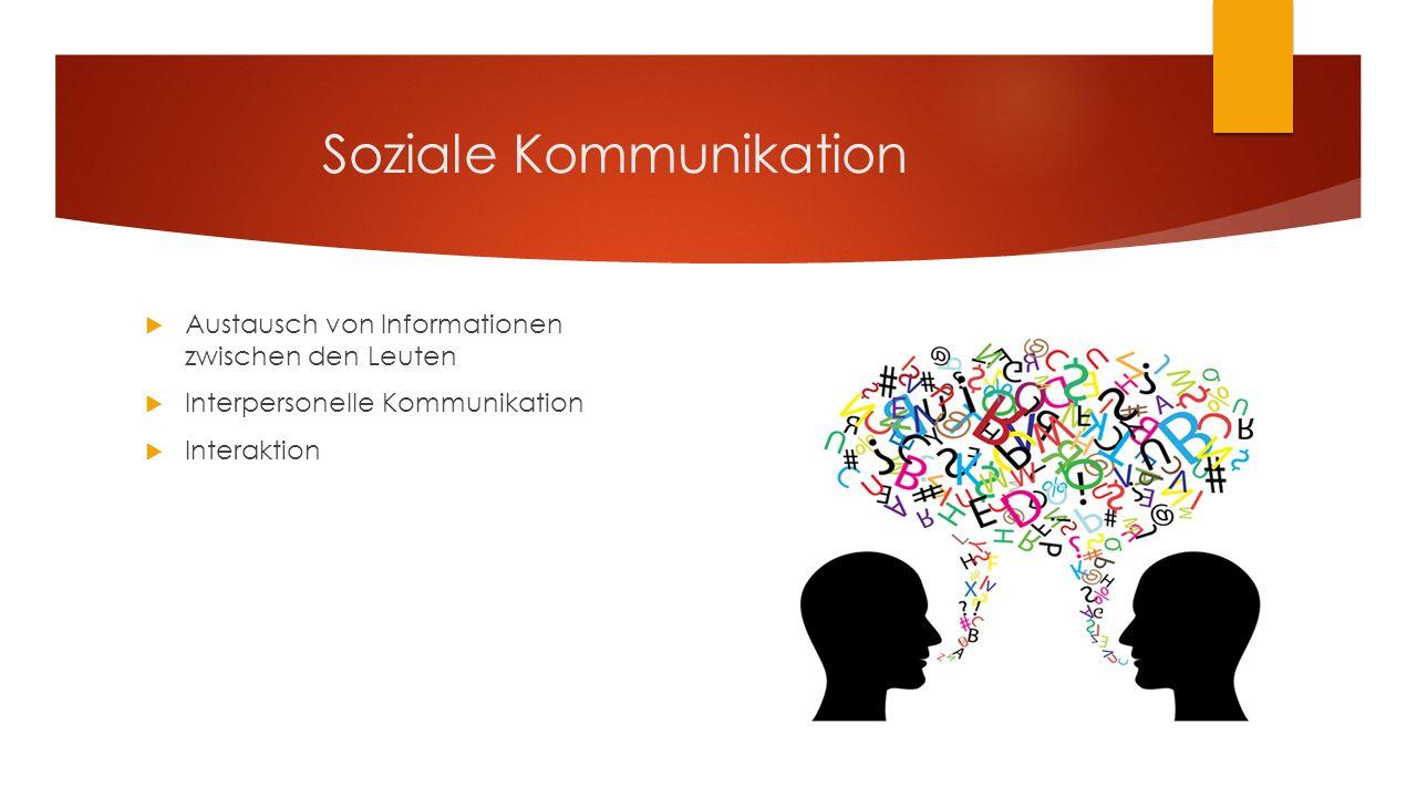 Soziale Kommunikation  Austausch von Informationen zwischen den Leuten  Interpersonelle Kommunikation  Interaktion