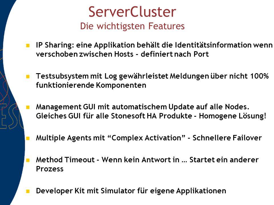 ServerCluster Die wichtigsten Features IP Sharing: eine Applikation behält die Identitätsinformation wenn verschoben zwischen Hosts - definiert nach Port Testsubsystem mit Log gewährleistet Meldungen über nicht 100% funktionierende Komponenten Management GUI mit automatischem Update auf alle Nodes.