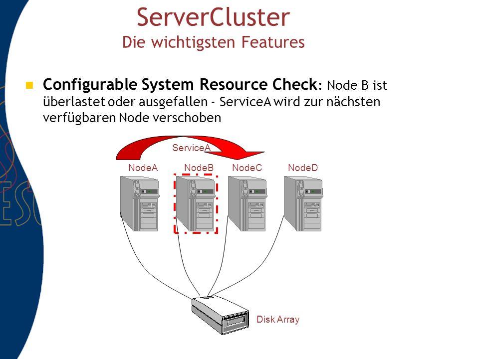 ServerCluster Die wichtigsten Features Configurable System Resource Check : Node B ist überlastet oder ausgefallen - ServiceA wird zur nächsten verfügbaren Node verschoben NodeANodeBNodeCNodeD Disk Array ServiceA