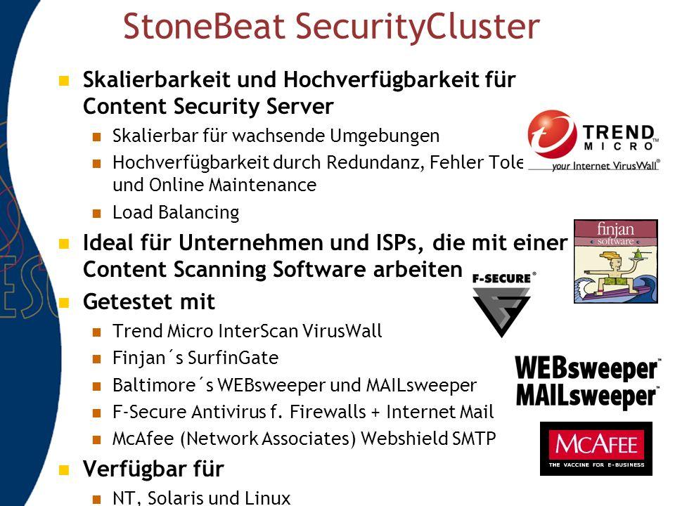 StoneBeat SecurityCluster Skalierbarkeit und Hochverfügbarkeit für Content Security Server Skalierbar für wachsende Umgebungen Hochverfügbarkeit durch Redundanz, Fehler Toleranz und Online Maintenance Load Balancing Ideal für Unternehmen und ISPs, die mit einer Content Scanning Software arbeiten Getestet mit Trend Micro InterScan VirusWall Finjan´s SurfinGate Baltimore´s WEBsweeper und MAILsweeper F-Secure Antivirus f.