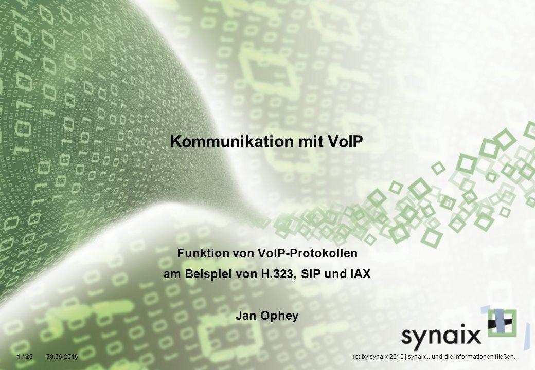 Funktion von VoIP-Protokollen am Beispiel von H.323, SIP und IAX Jan Ophey 30.05.2016(c) by synaix 2010 | synaix...und die Informationen fließen.1 / 2