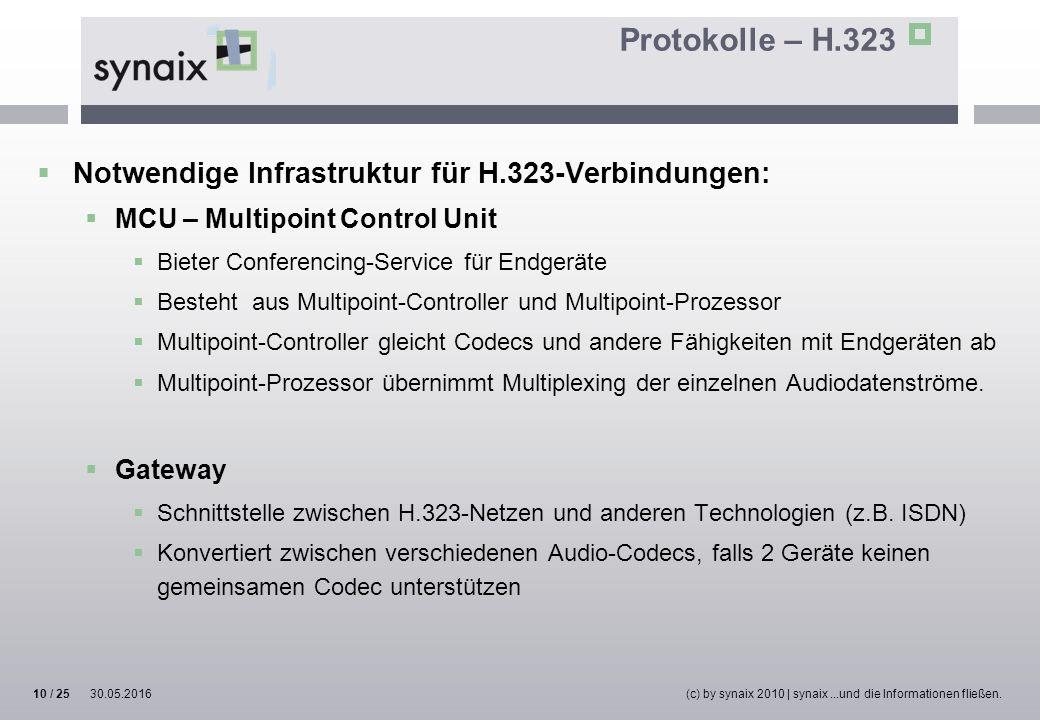Protokolle – H.323  Notwendige Infrastruktur für H.323-Verbindungen:  MCU – Multipoint Control Unit  Bieter Conferencing-Service für Endgeräte  Be