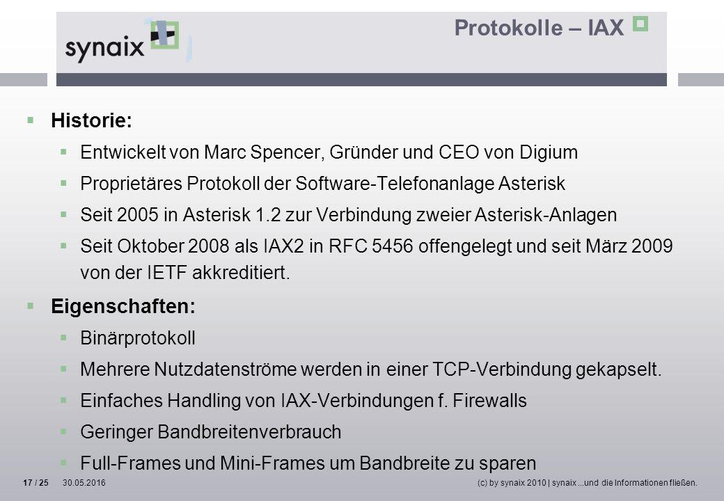 Protokolle – IAX  Historie:  Entwickelt von Marc Spencer, Gründer und CEO von Digium  Proprietäres Protokoll der Software-Telefonanlage Asterisk 