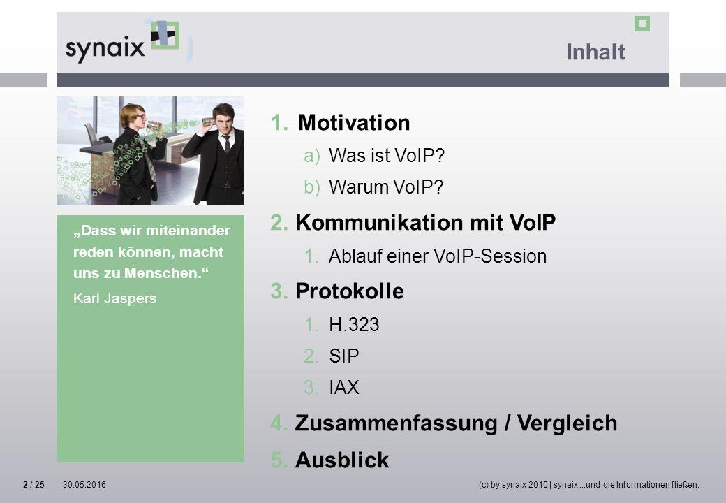 30.05.2016(c) by synaix 2010 | synaix...und die Informationen fließen.2 / 25 Inhalt 1.Motivation a)Was ist VoIP? b)Warum VoIP? 2.Kommunikation mit VoI