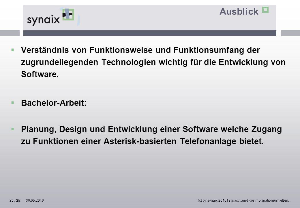 Ausblick  Verständnis von Funktionsweise und Funktionsumfang der zugrundeliegenden Technologien wichtig für die Entwicklung von Software.  Bachelor-