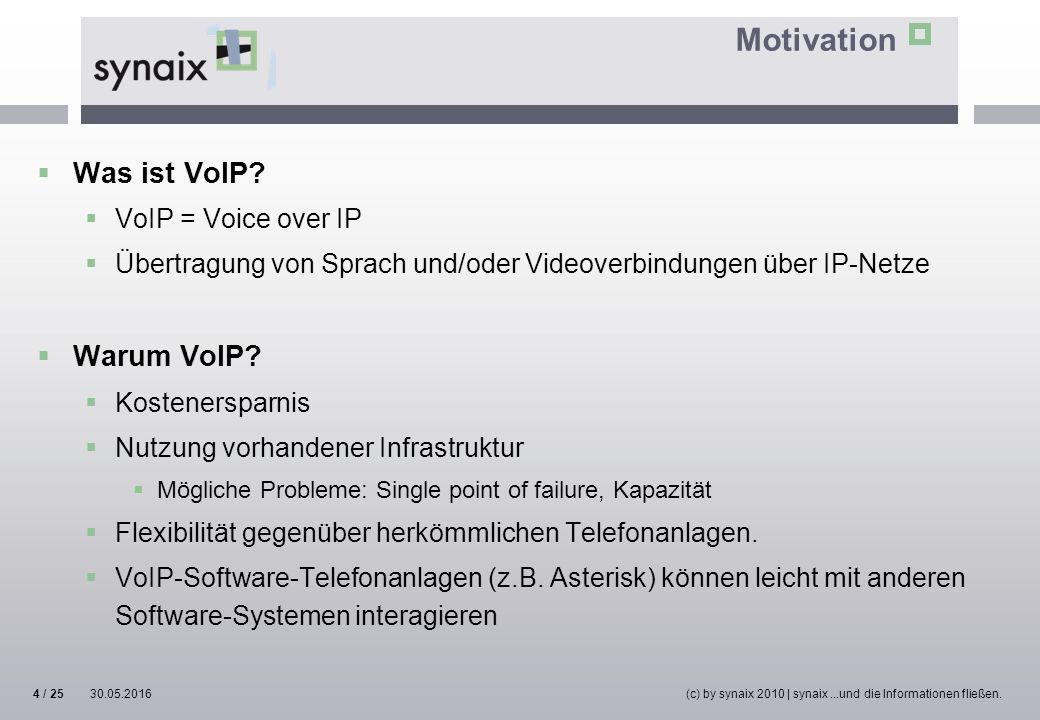 Motivation  Was ist VoIP?  VoIP = Voice over IP  Übertragung von Sprach und/oder Videoverbindungen über IP-Netze  Warum VoIP?  Kostenersparnis 