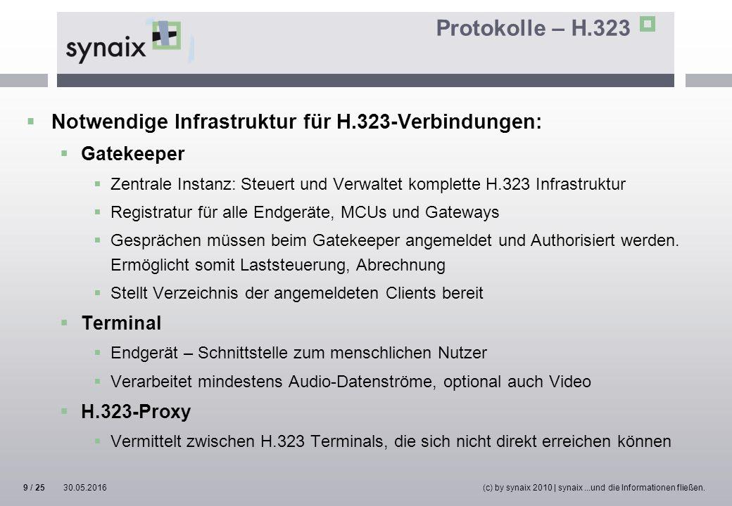 Protokolle – H.323  Notwendige Infrastruktur für H.323-Verbindungen:  Gatekeeper  Zentrale Instanz: Steuert und Verwaltet komplette H.323 Infrastru