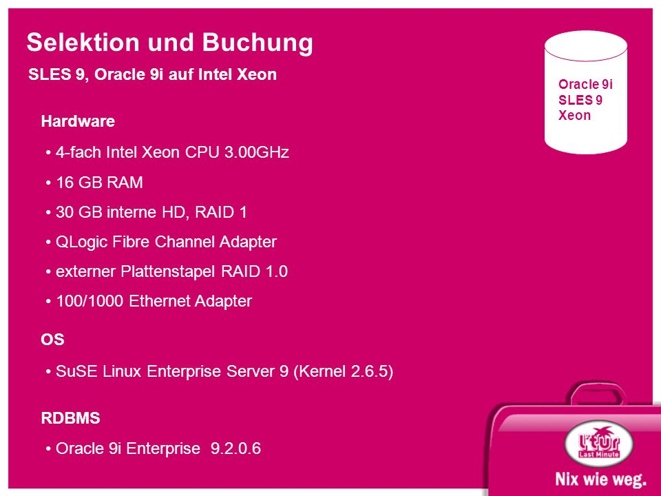 Selektion und Buchung SLES 9, Oracle 9i auf Intel Xeon Oracle 9i SLES 9 Xeon 4-fach Intel Xeon CPU 3.00GHz 16 GB RAM 30 GB interne HD, RAID 1 QLogic F