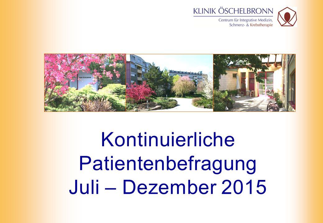Kontinuierliche Patientenbefragung Juli – Dezember 2015
