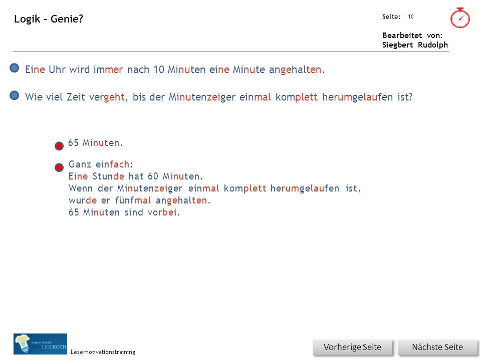 Übungsart: Seite: Bearbeitet von: Siegbert Rudolph Lesemotivationstraining 10 Logik – Genie.