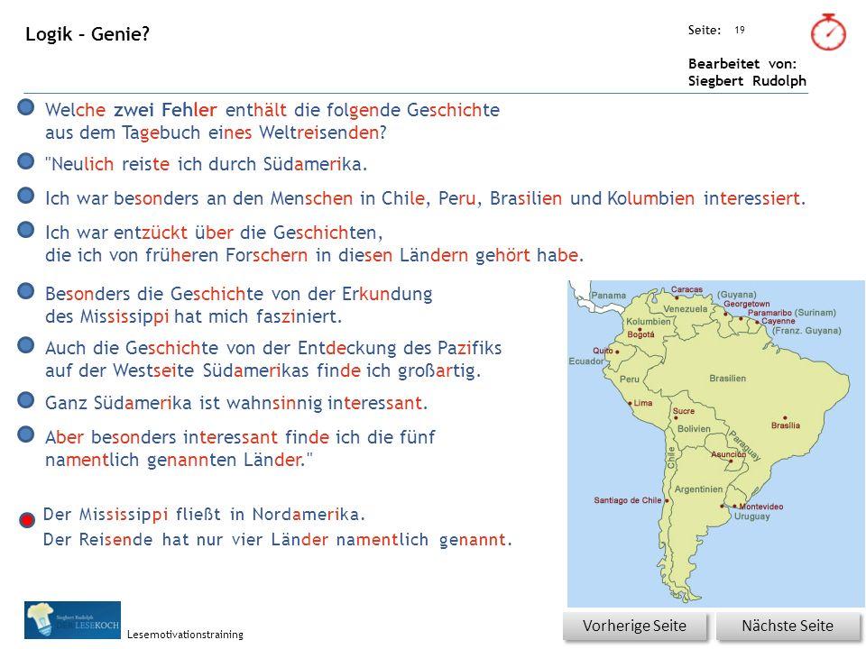 Übungsart: Seite: Bearbeitet von: Siegbert Rudolph Lesemotivationstraining 19 Logik – Genie.