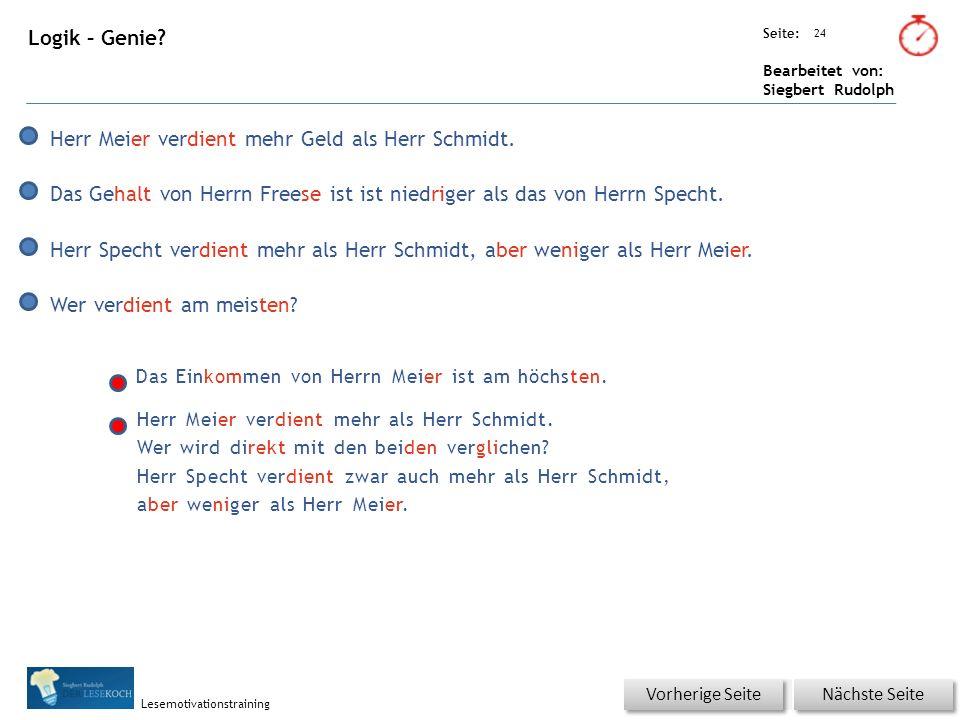 Übungsart: Seite: Bearbeitet von: Siegbert Rudolph Lesemotivationstraining 24 Logik – Genie.