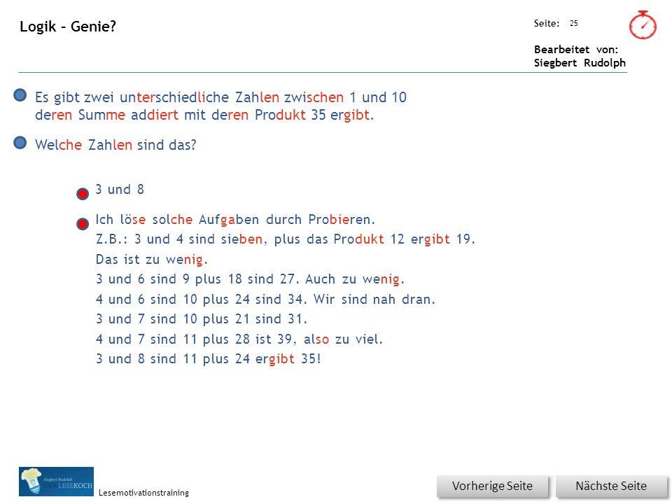 Übungsart: Seite: Bearbeitet von: Siegbert Rudolph Lesemotivationstraining 25 Logik – Genie.