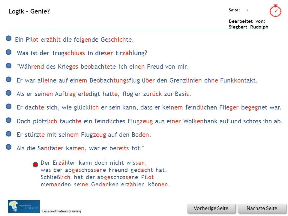 Übungsart: Seite: Bearbeitet von: Siegbert Rudolph Lesemotivationstraining 14 Logik – Genie.