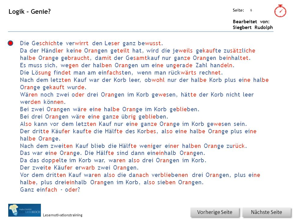 Übungsart: Seite: Bearbeitet von: Siegbert Rudolph Lesemotivationstraining 7 Logik – Genie.