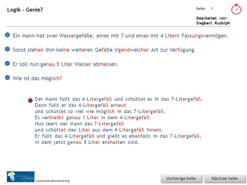 Übungsart: Seite: Bearbeitet von: Siegbert Rudolph Lesemotivationstraining 9 Logik – Genie.