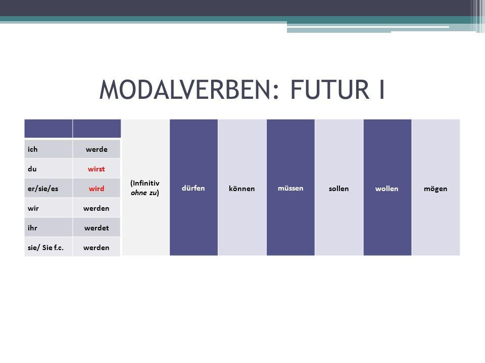 MODALVERBEN: FUTUR I (Infinitiv ohne zu) dürfen können müssen sollenwollenmögen ichwerde duwirst er/sie/eswird wirwerden ihrwerdet sie/ Sie f.c.werden