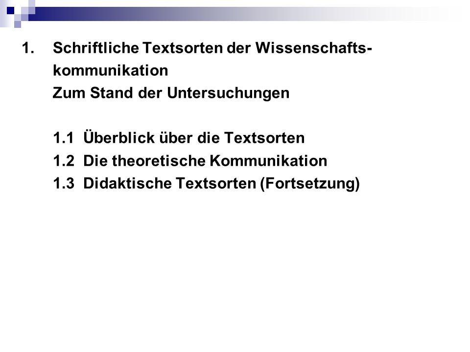 1.Schriftliche Textsorten der Wissenschafts- kommunikation Zum Stand der Untersuchungen 1.1 Überblick über die Textsorten 1.2 Die theoretische Kommunikation 1.3 Didaktische Textsorten (Fortsetzung)