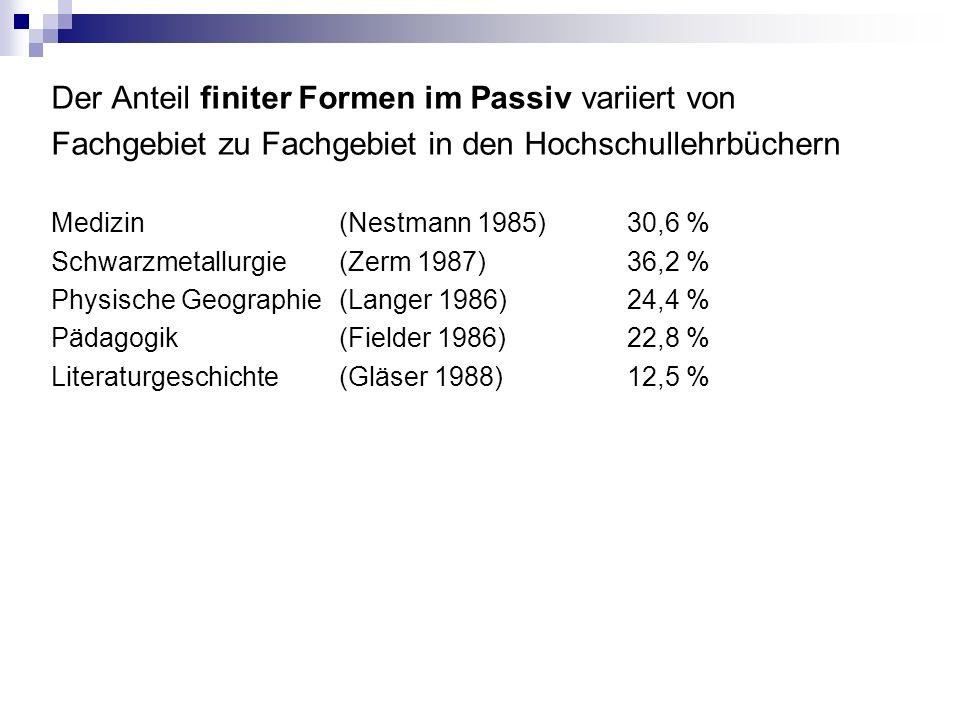 Der Anteil finiter Formen im Passiv variiert von Fachgebiet zu Fachgebiet in den Hochschullehrbüchern Medizin(Nestmann 1985)30,6 % Schwarzmetallurgie(Zerm 1987)36,2 % Physische Geographie(Langer 1986)24,4 % Pädagogik(Fielder 1986)22,8 % Literaturgeschichte(Gläser 1988)12,5 %