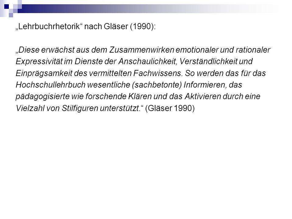 """""""Lehrbuchrhetorik nach Gläser (1990): """"Diese erwächst aus dem Zusammenwirken emotionaler und rationaler Expressivität im Dienste der Anschaulichkeit, Verständlichkeit und Einprägsamkeit des vermittelten Fachwissens."""