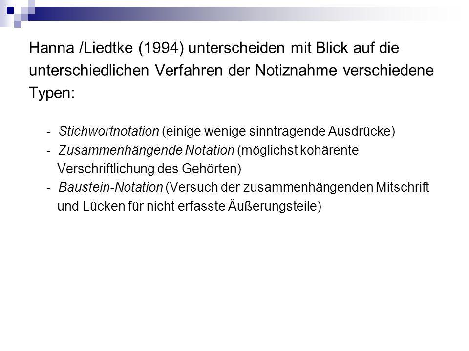 Hanna /Liedtke (1994) unterscheiden mit Blick auf die unterschiedlichen Verfahren der Notiznahme verschiedene Typen: - Stichwortnotation (einige wenige sinntragende Ausdrücke) - Zusammenhängende Notation (möglichst kohärente Verschriftlichung des Gehörten) - Baustein-Notation (Versuch der zusammenhängenden Mitschrift und Lücken für nicht erfasste Äußerungsteile)