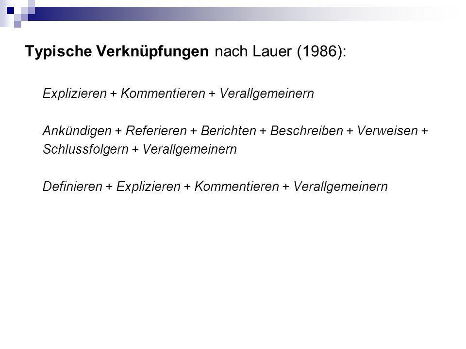 Typische Verknüpfungen nach Lauer (1986): Explizieren + Kommentieren + Verallgemeinern Ankündigen + Referieren + Berichten + Beschreiben + Verweisen + Schlussfolgern + Verallgemeinern Definieren + Explizieren + Kommentieren + Verallgemeinern