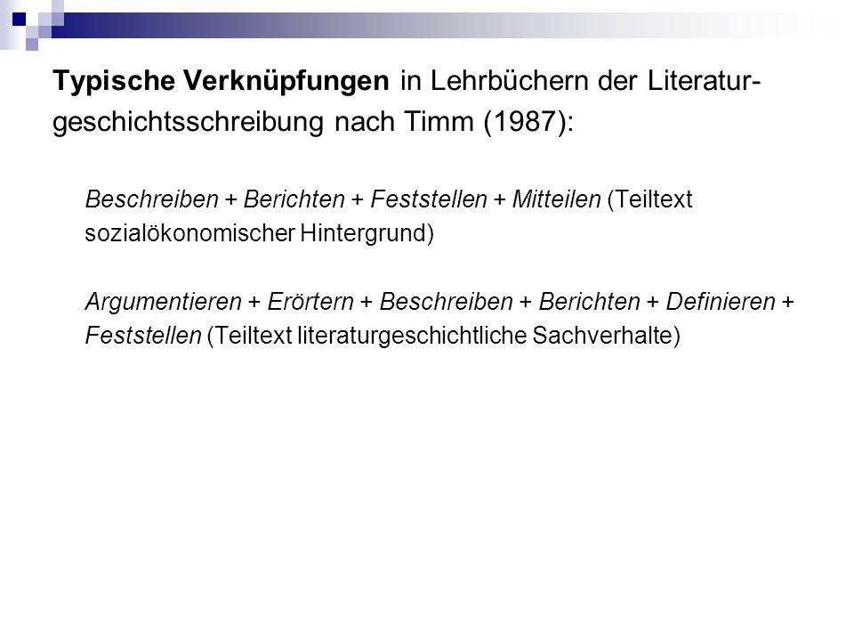 Typische Verknüpfungen in Lehrbüchern der Literatur- geschichtsschreibung nach Timm (1987): Beschreiben + Berichten + Feststellen + Mitteilen (Teiltext sozialökonomischer Hintergrund) Argumentieren + Erörtern + Beschreiben + Berichten + Definieren + Feststellen (Teiltext literaturgeschichtliche Sachverhalte)