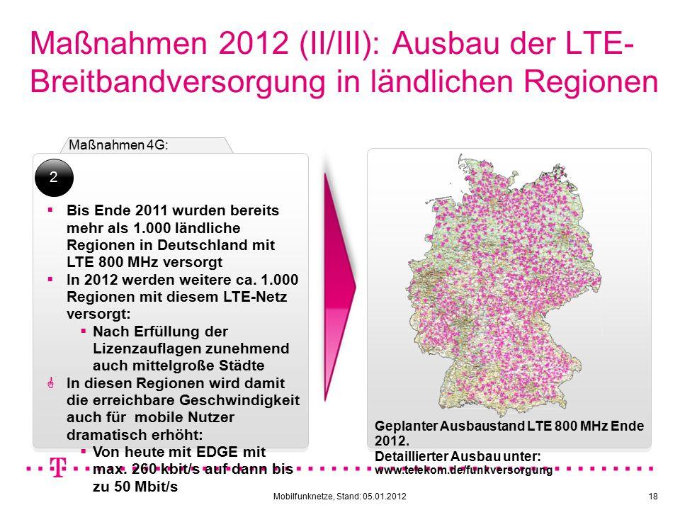 Mobilfunknetze, Stand: 05.01.201218 Maßnahmen 2012 (II/III): Ausbau der LTE- Breitbandversorgung in ländlichen Regionen Maßnahmen 4G:  Bis Ende 2011 wurden bereits mehr als 1.000 ländliche Regionen in Deutschland mit LTE 800 MHz versorgt  In 2012 werden weitere ca.