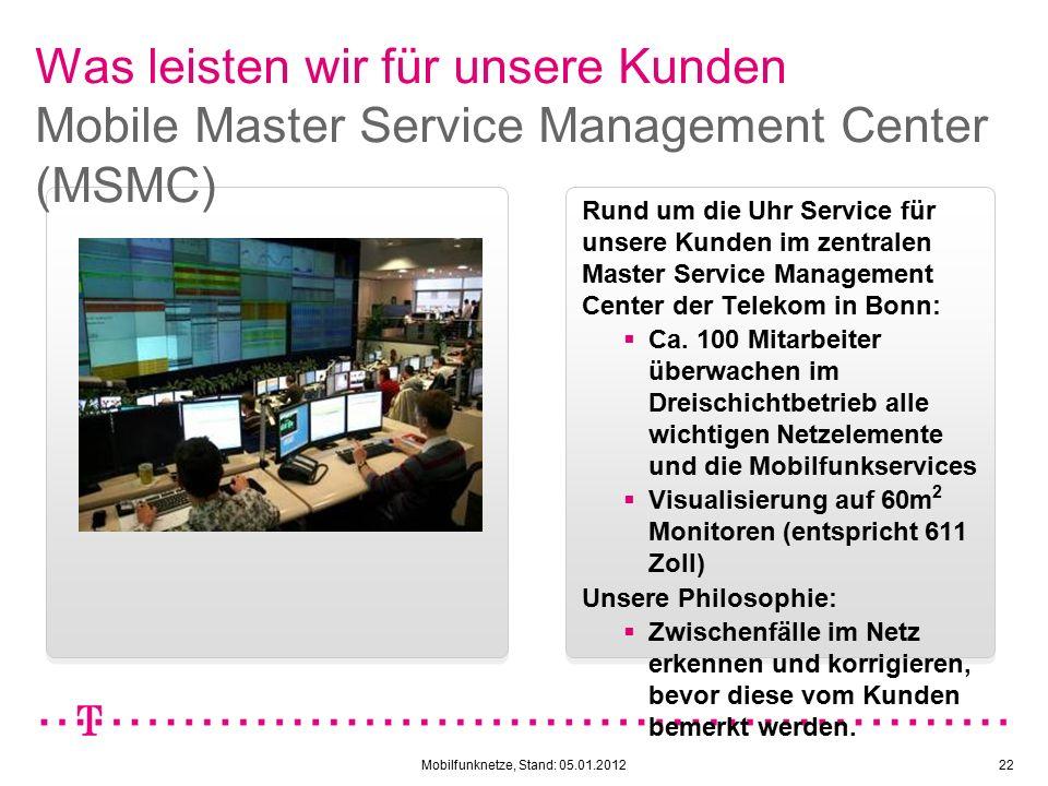 Mobilfunknetze, Stand: 05.01.201222 Was leisten wir für unsere Kunden Mobile Master Service Management Center (MSMC) Rund um die Uhr Service für unsere Kunden im zentralen Master Service Management Center der Telekom in Bonn:  Ca.