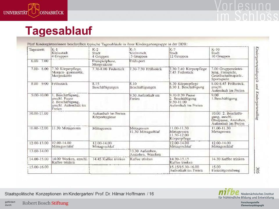 Tagesablauf Staatspolitische Konzeptionen im Kindergarten/ Prof. Dr. Hilmar Hoffmann / 16
