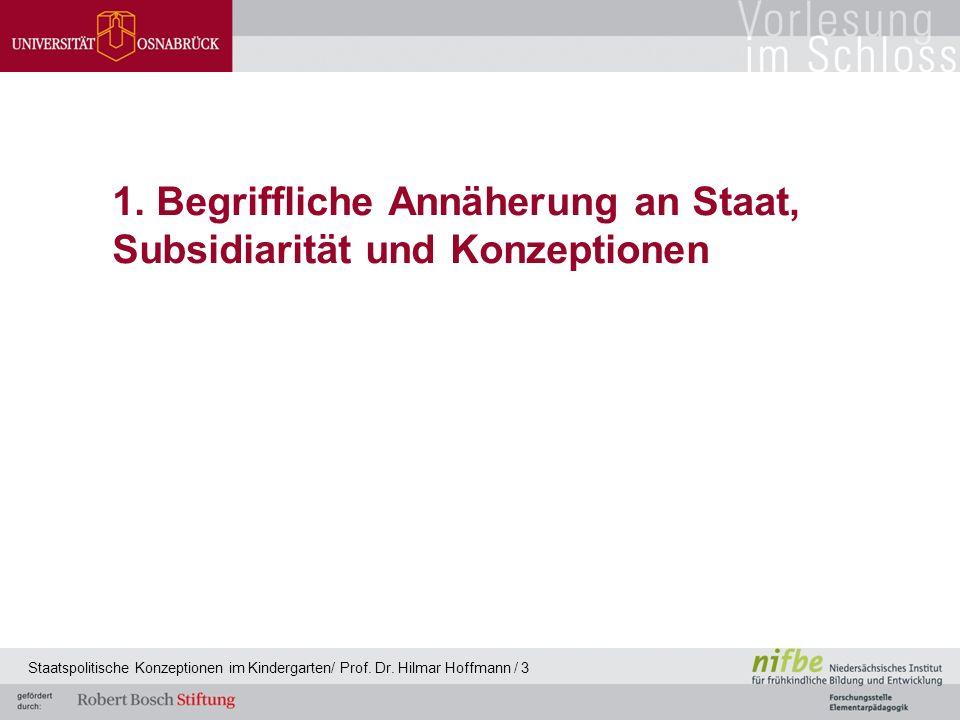 1. Begriffliche Annäherung an Staat, Subsidiarität und Konzeptionen Staatspolitische Konzeptionen im Kindergarten/ Prof. Dr. Hilmar Hoffmann / 3