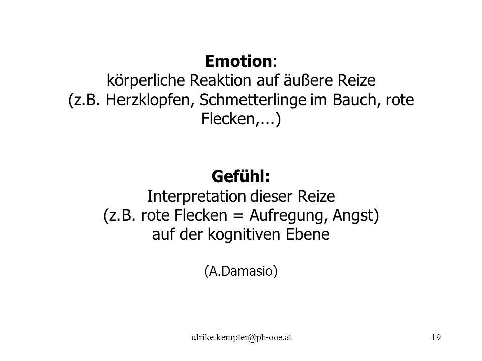 ulrike.kempter@ph-ooe.at19 Emotion: körperliche Reaktion auf äußere Reize (z.B. Herzklopfen, Schmetterlinge im Bauch, rote Flecken,...) Gefühl: Interp