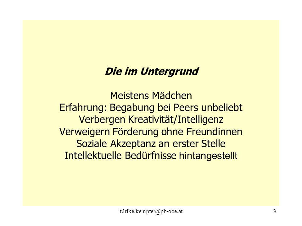 ulrike.kempter@ph-ooe.at9 Die im Untergrund Meistens Mädchen Erfahrung: Begabung bei Peers unbeliebt Verbergen Kreativität/Intelligenz Verweigern Förd