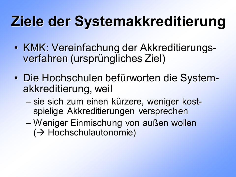 Ziele der Systemakkreditierung KMK: Vereinfachung der Akkreditierungs- verfahren (ursprüngliches Ziel)KMK: Vereinfachung der Akkreditierungs- verfahren (ursprüngliches Ziel) Die Hochschulen befürworten die System- akkreditierung, weilDie Hochschulen befürworten die System- akkreditierung, weil –sie sich zum einen kürzere, weniger kost- spielige Akkreditierungen versprechen –Weniger Einmischung von außen wollen (  Hochschulautonomie)