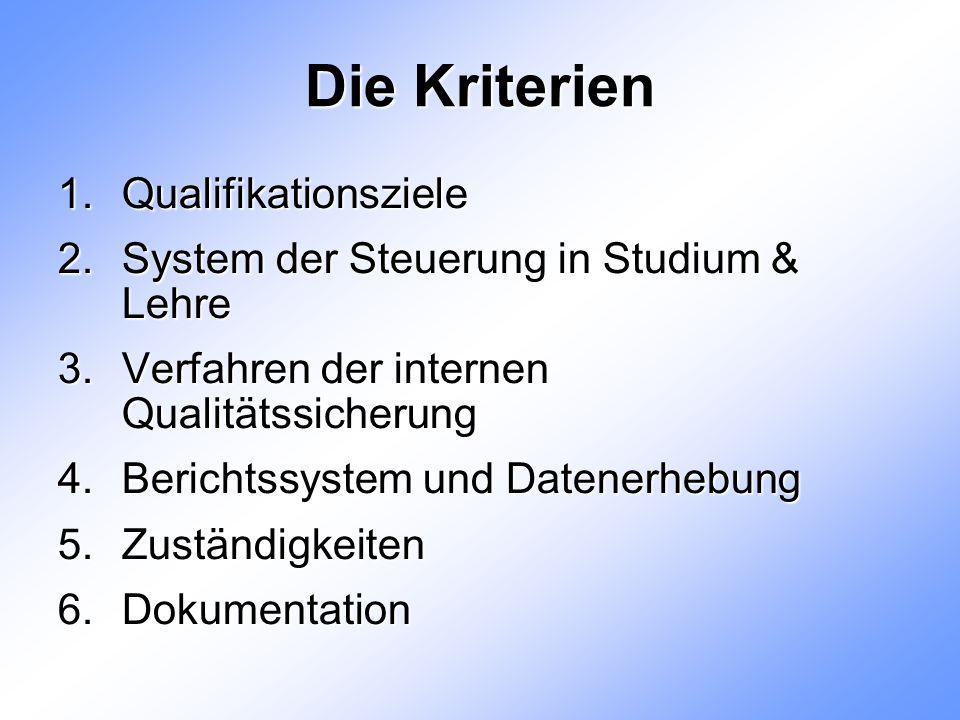 Die Kriterien 1.Qualifikationsziele 2.System der Steuerung in Studium & Lehre 3.Verfahren der internen Qualitätssicherung 4.Berichtssystem und Datenerhebung 5.Zuständigkeiten 6.Dokumentation