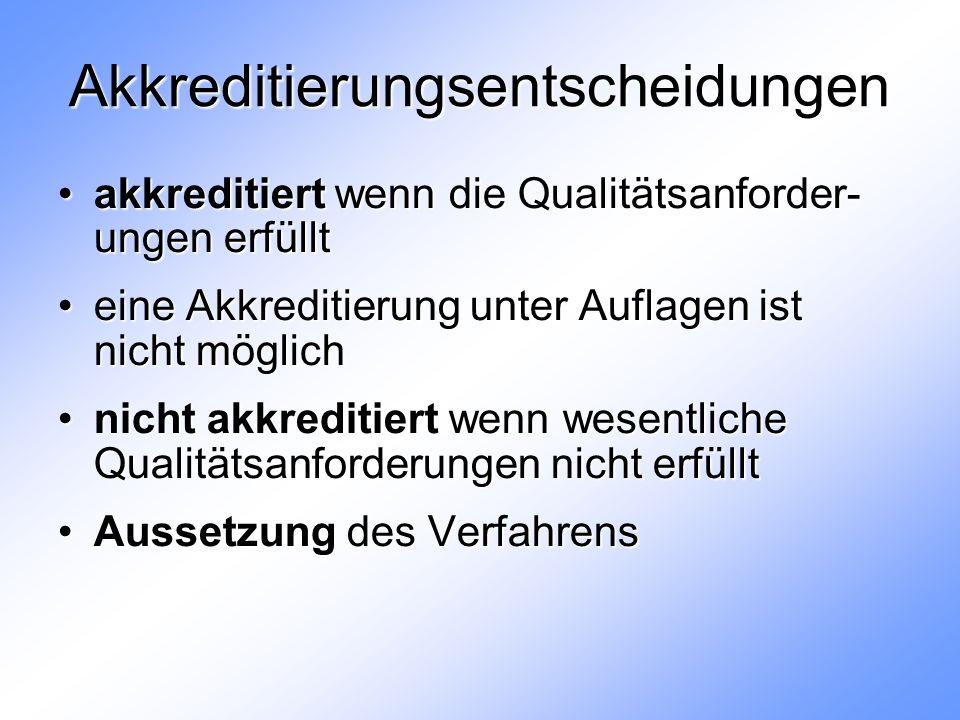 Akkreditierungsentscheidungen akkreditiert wenn die Qualitätsanforder- ungen erfülltakkreditiert wenn die Qualitätsanforder- ungen erfüllt eine Akkreditierung unter Auflagen ist nicht möglicheine Akkreditierung unter Auflagen ist nicht möglich nicht akkreditiert wenn wesentliche Qualitätsanforderungen nicht erfülltnicht akkreditiert wenn wesentliche Qualitätsanforderungen nicht erfüllt Aussetzung des VerfahrensAussetzung des Verfahrens