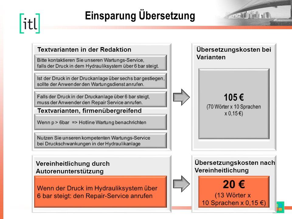 Textvarianten in der Redaktion Textvarianten, firmenübergreifend Vereinheitlichung durch Autorenunterstützung Übersetzungskosten bei Varianten Übersetzungskosten nach Vereinheitlichung Einsparung Übersetzung