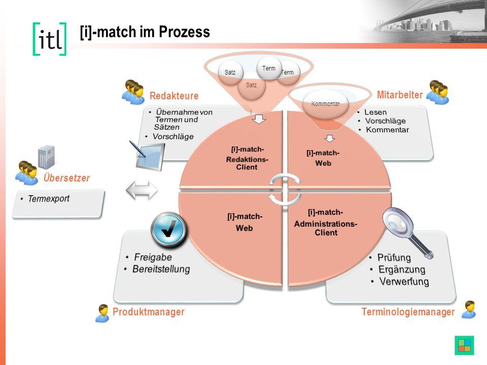 Redakteure Mitarbeiter Produktmanager Terminologiemanager [i]-match im Prozess