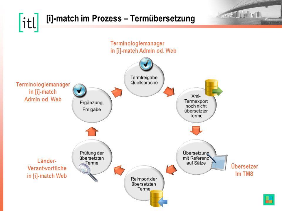 Übersetzer Im TMS Terminologiemanager in [i]-match Admin od. Web Übersetzer [i]-match im Prozess – Termübersetzung Länder- Verantwortliche in [i]-matc