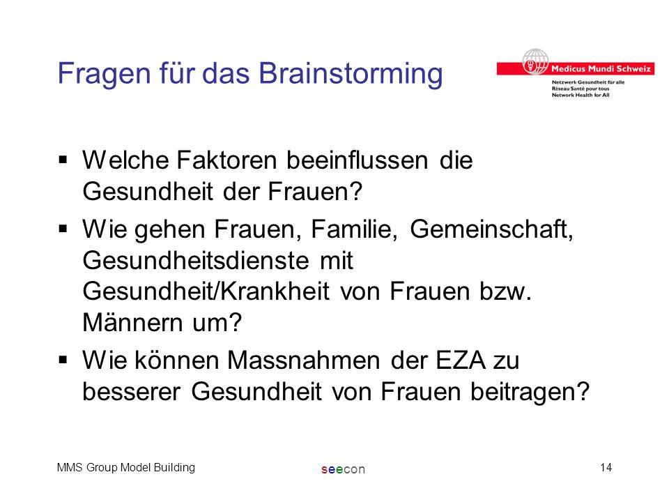 seecon MMS Group Model Building14 Fragen für das Brainstorming  Welche Faktoren beeinflussen die Gesundheit der Frauen?  Wie gehen Frauen, Familie,