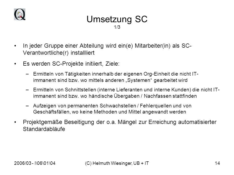 2006/03 - I\06\01\04(C) Helmuth Wiesinger, UB + IT14 Umsetzung SC 1/3 In jeder Gruppe einer Abteilung wird ein(e) Mitarbeiter(in) als SC- Verantwortli