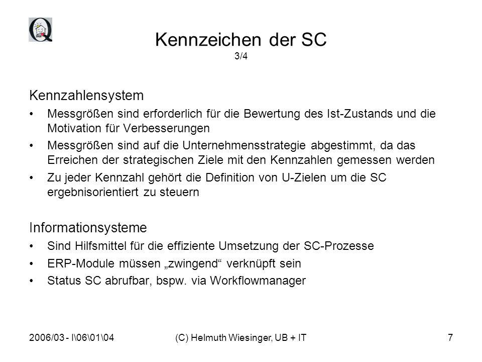 2006/03 - I\06\01\04(C) Helmuth Wiesinger, UB + IT8 Kennzeichen der SC 4/4 Organisation Die Umwandlung von einer abteilungsorientierten Organisation zu einer prozessorientierten SC-Organisation erfordert (möglicherweise) eine Neu- oder Umstruktur der bestehenden Organisation SC führt zu klaren Strukturen der Mgmt.-Beziehungen und zur Ressourcendefinition Das Zusammenwirken der Prozessbeteiligten auf gemeinsame Ziele wird gewährleistet