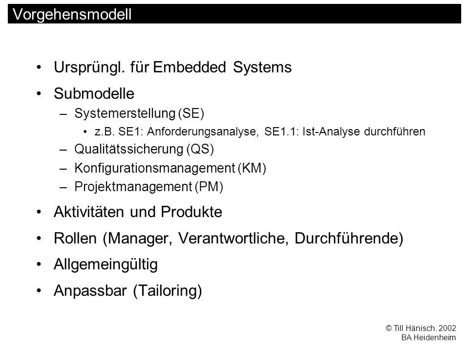 © Till Hänisch, 2002 BA Heidenheim Vorgehensmodell Ursprüngl.