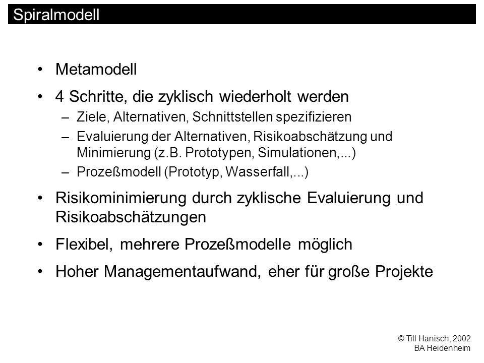 © Till Hänisch, 2002 BA Heidenheim Spiralmodell Metamodell 4 Schritte, die zyklisch wiederholt werden –Ziele, Alternativen, Schnittstellen spezifizieren –Evaluierung der Alternativen, Risikoabschätzung und Minimierung (z.B.